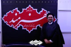 حجت الاسلام ابطحی در غرفه روزنامه هنرمند